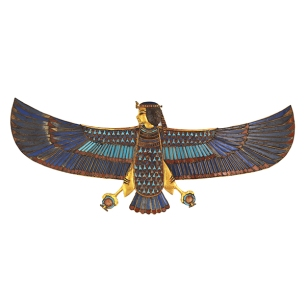 Pectoral en Or de l'oiseau Ba avec incrustations.
