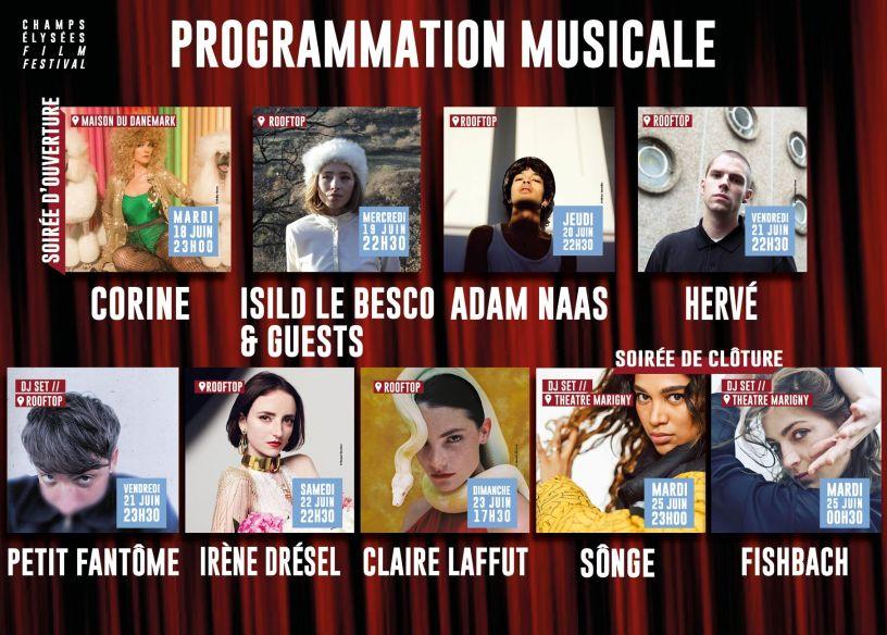 Programmation musicale de la 8ème édition du Champs Elysées Film Festival