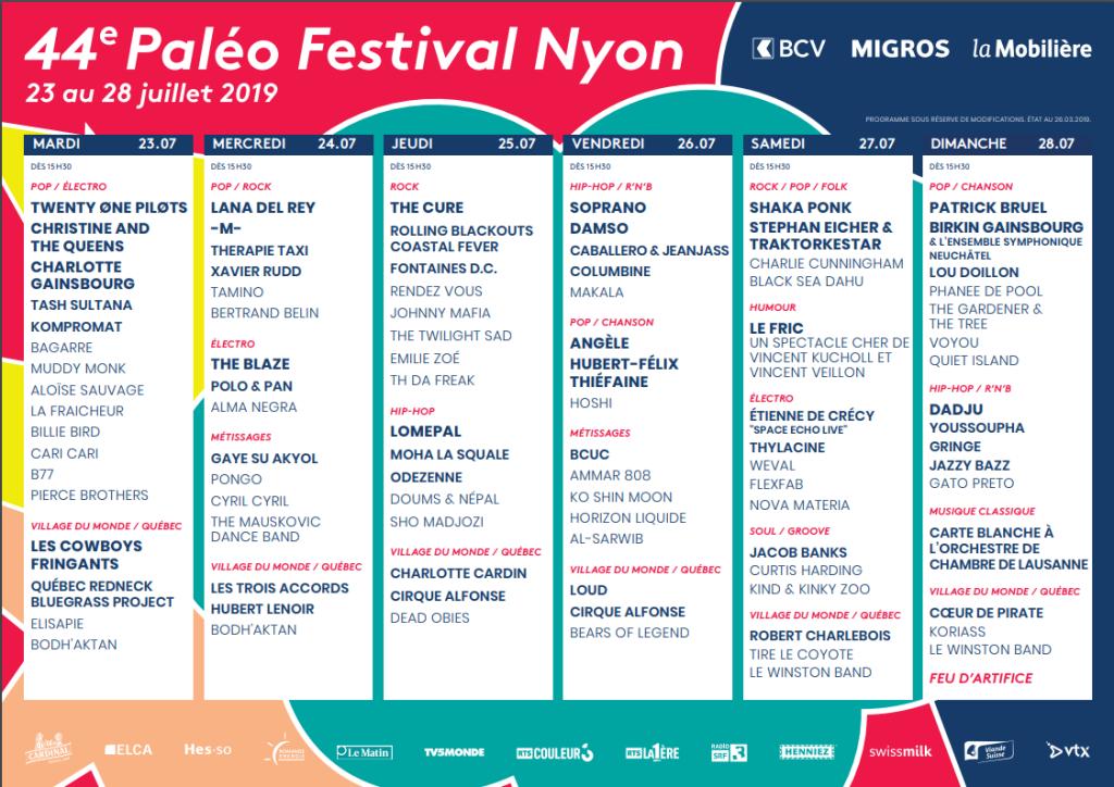 Programmation complète Paléo festival Nyon 2019.