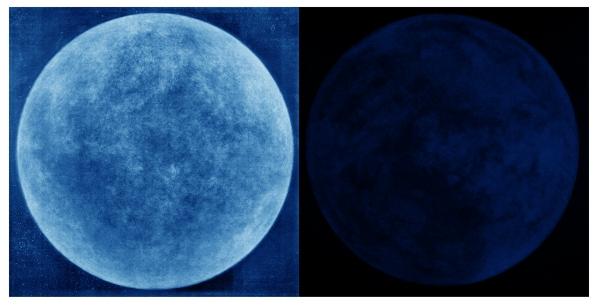 Lune et Terre 1893-1894 © Hideyuki Ishibashi, Stjernhimmeln, 2019 Image composite, Cyanotype sur plaque de verre / Sylvertone
