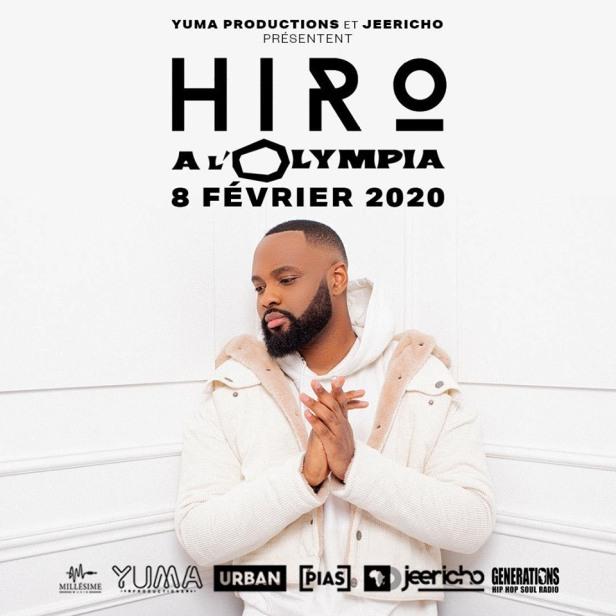 Affiche du concert de Hiro à l'Olympia le 8 février 2020.