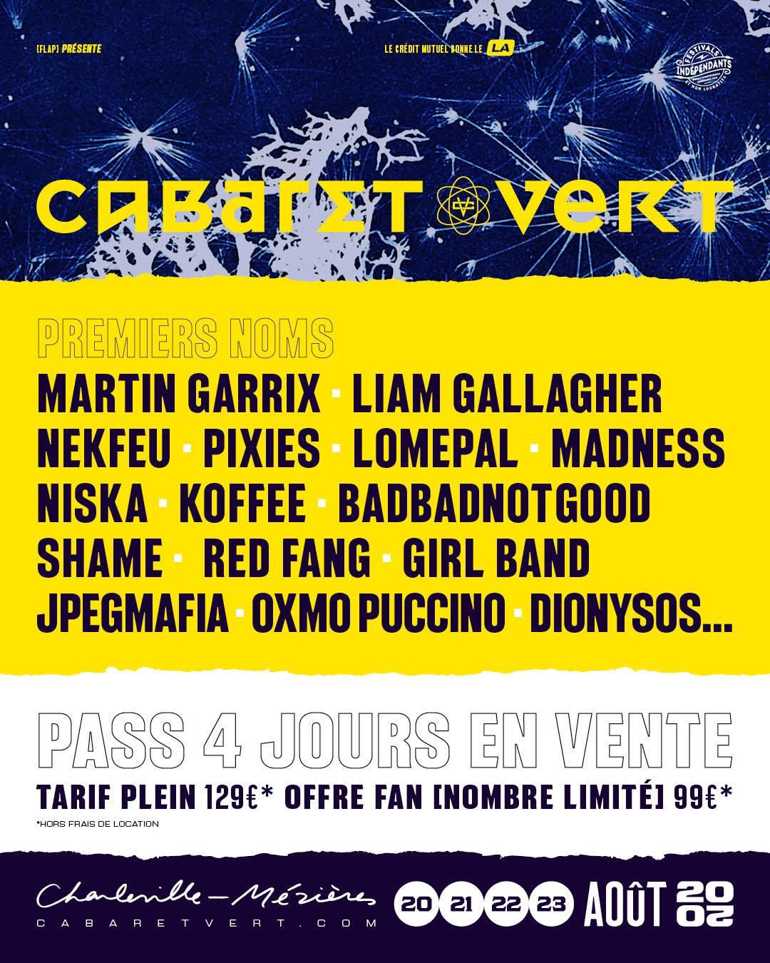 Les 16 premiers noms de l'édition 2020 du Cabaret Vert