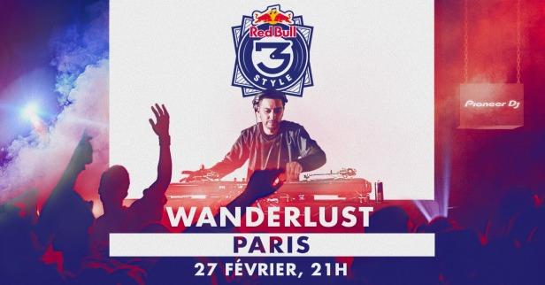 Visuel de la soirée du Redbull 3style, le 27 février au Wanderlust à paris.