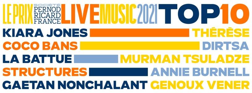 Top 10 du Prix Société Pernod Ricard France Live Music 2021.