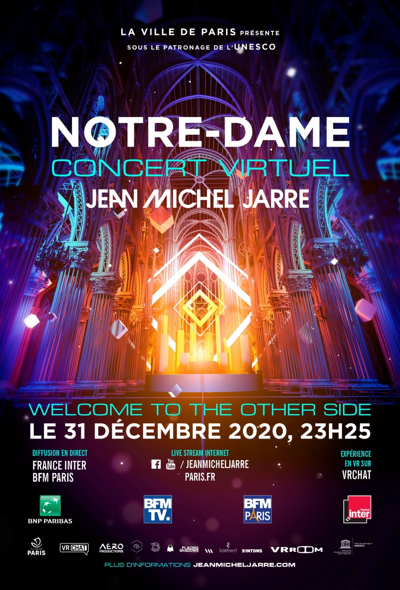 Jean Michel Jarre - Concert virtuel à Notre-Dame de Paris le 31 décembre 2020.
